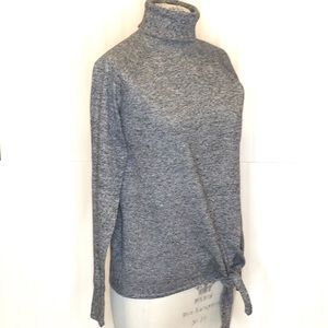 GAP NWT Navy Marl Turtleneck Tie Waist Sweater M